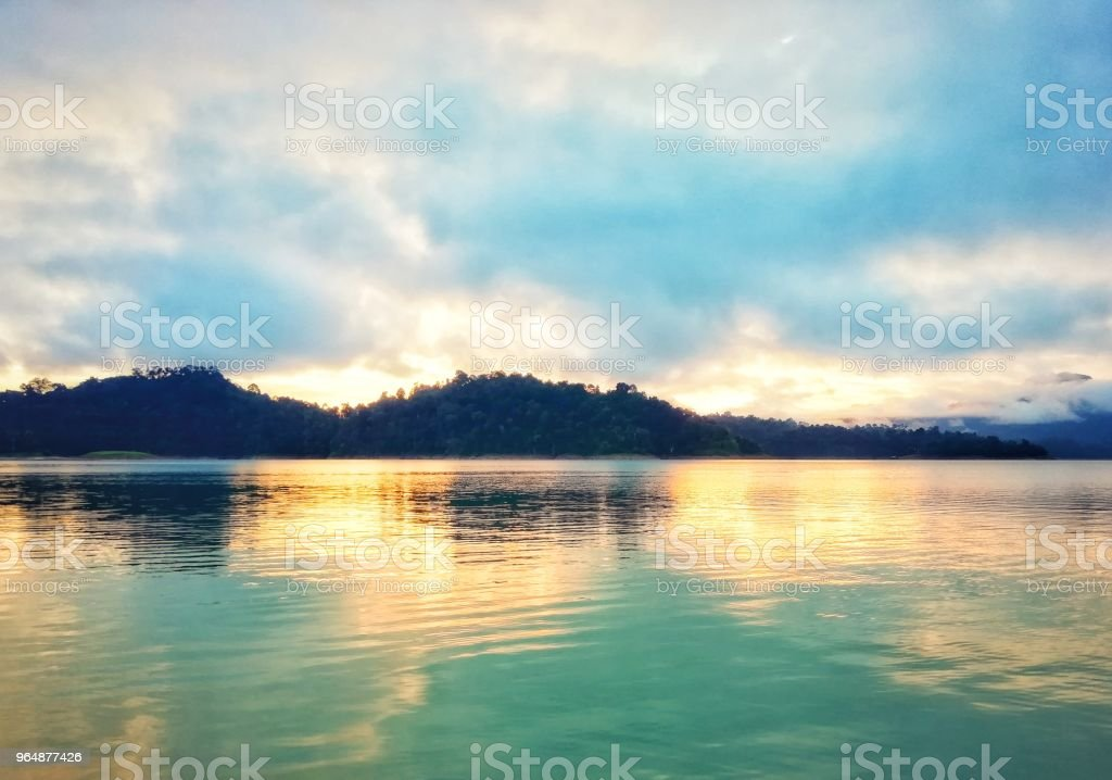Lake and mountain in morning sunrise. royalty-free stock photo