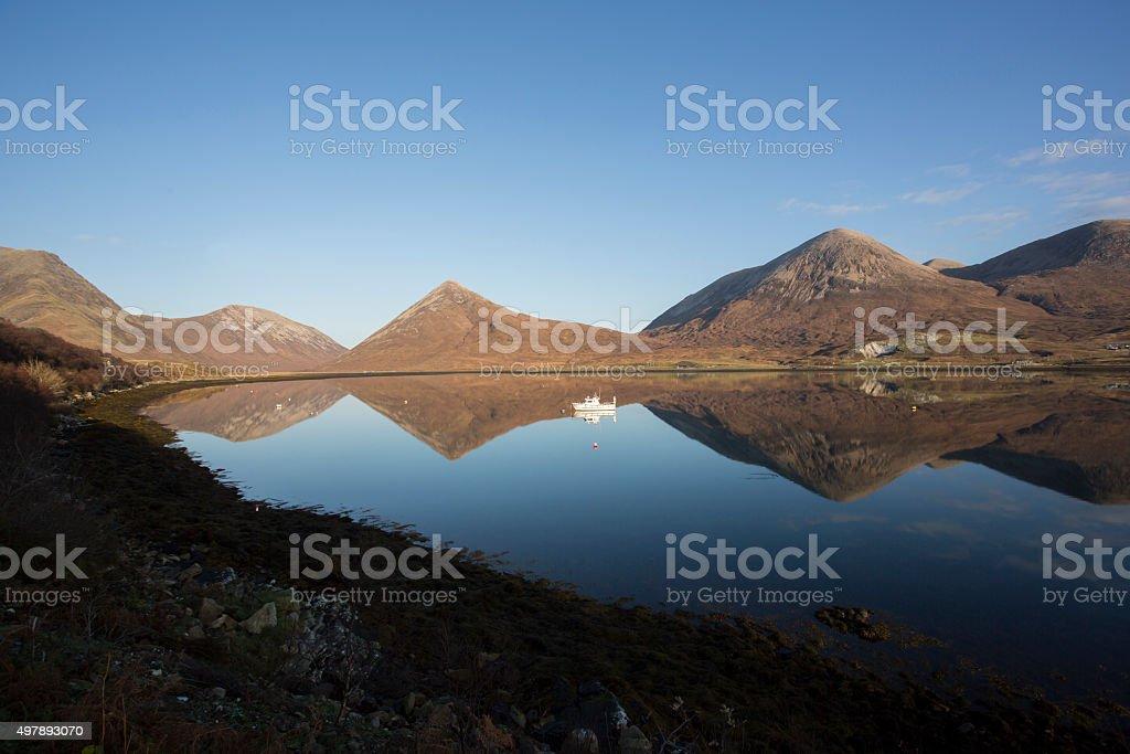 lake and mountain reflections stock photo