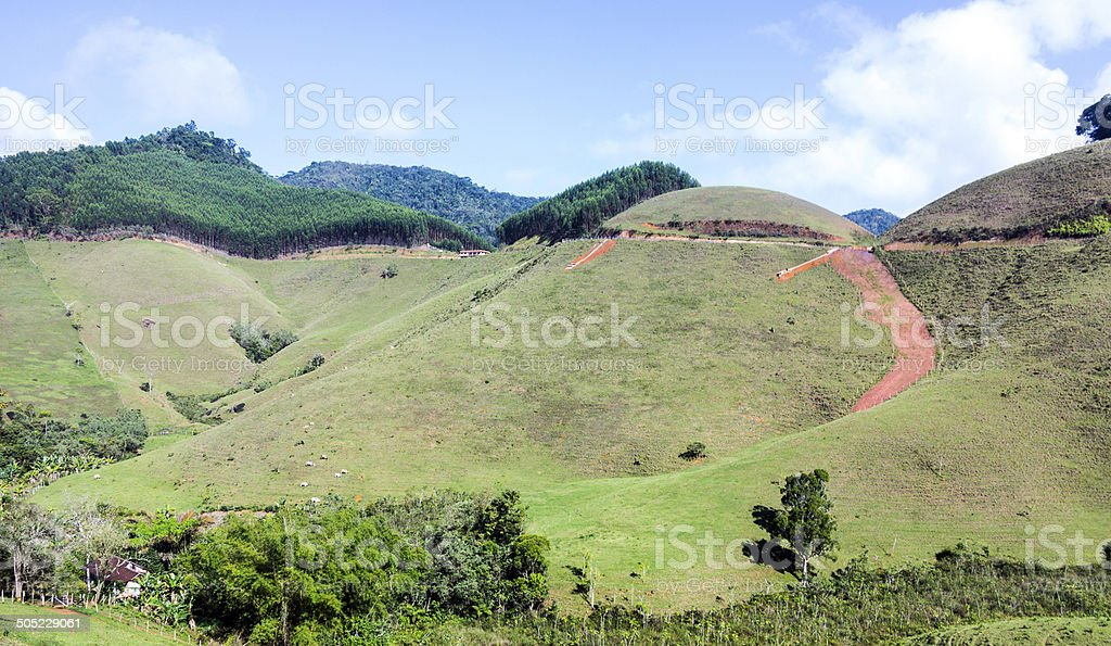 Lake and mountains at Canela, Rio Grande do Sul stock photo
