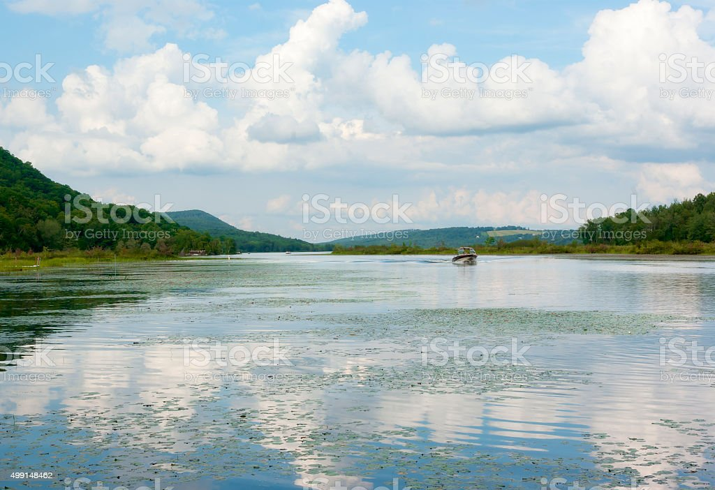 Lake and mountains, cloudy sky, Memphremagog stock photo