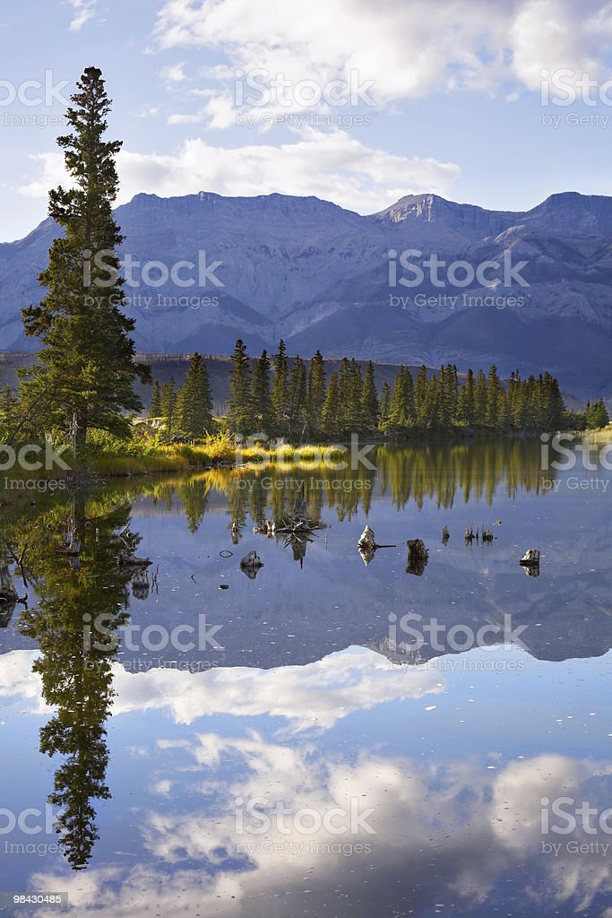 Lake and mountains in the distance royalty-free stock photo