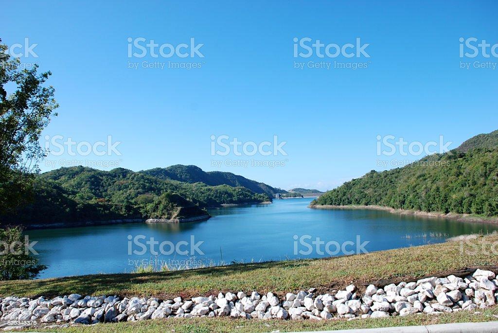 Lake and Mountains, Puerto Rico Lake Cerrillo stock photo