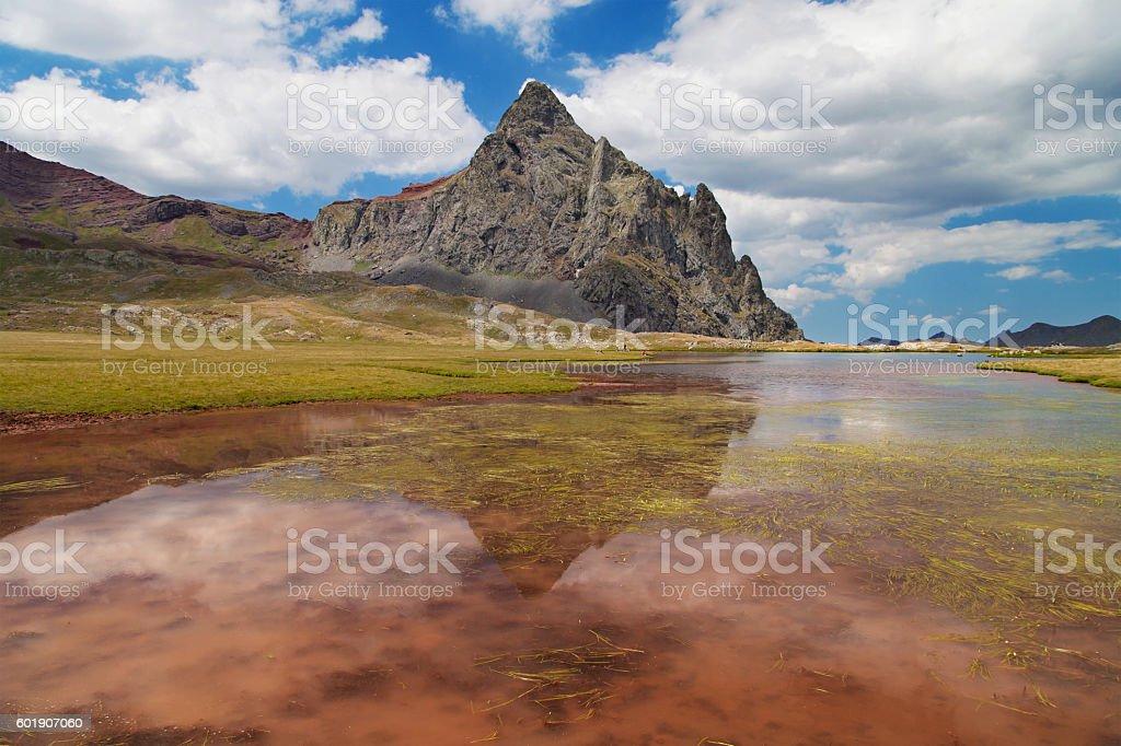 Lake and Peak of Anayet stock photo