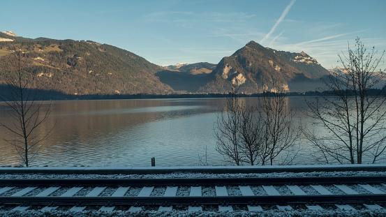 Lake and railway of Switzerland