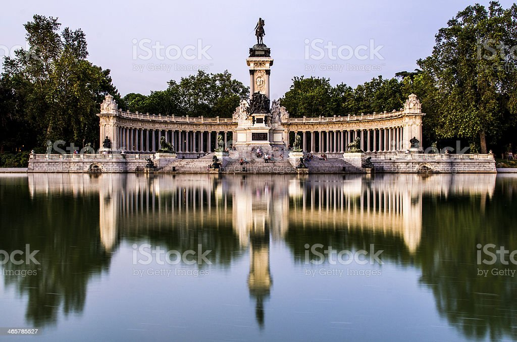 lake and reflection in parque del retiro stock photo