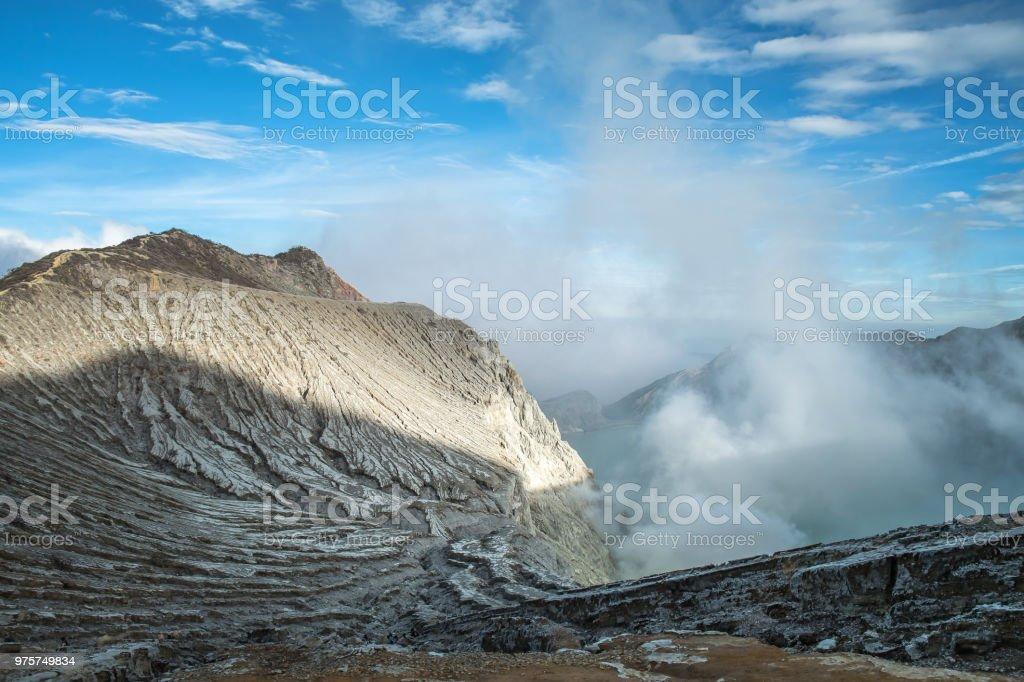 See und Schwefel-Mine in Khawa Ijen Vulkankrater, Insel Java, Indonesien - Lizenzfrei Abenteuer Stock-Foto