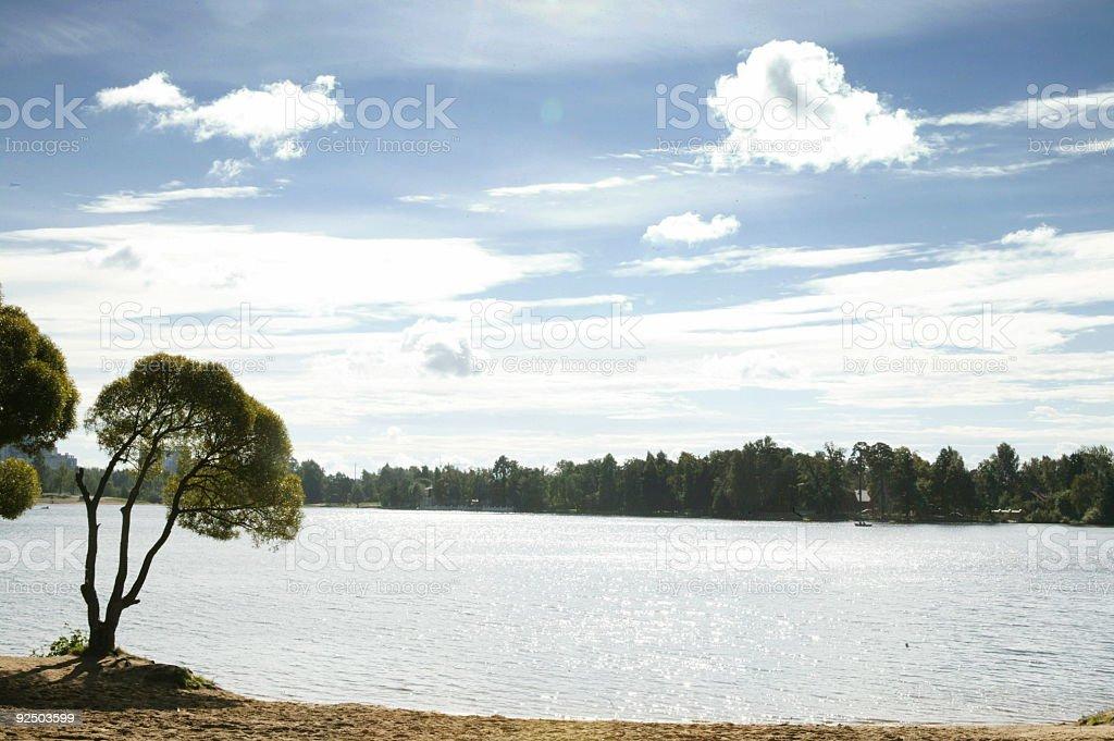 Lake and sun. royalty-free stock photo