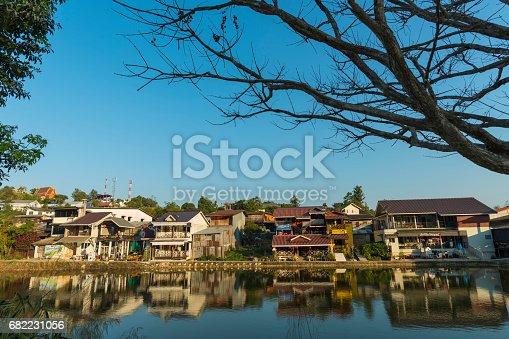 Lake and the village at Ban I-Tong, Pilok, Thong Pha Phum, Kanchanaburi, Thailand.