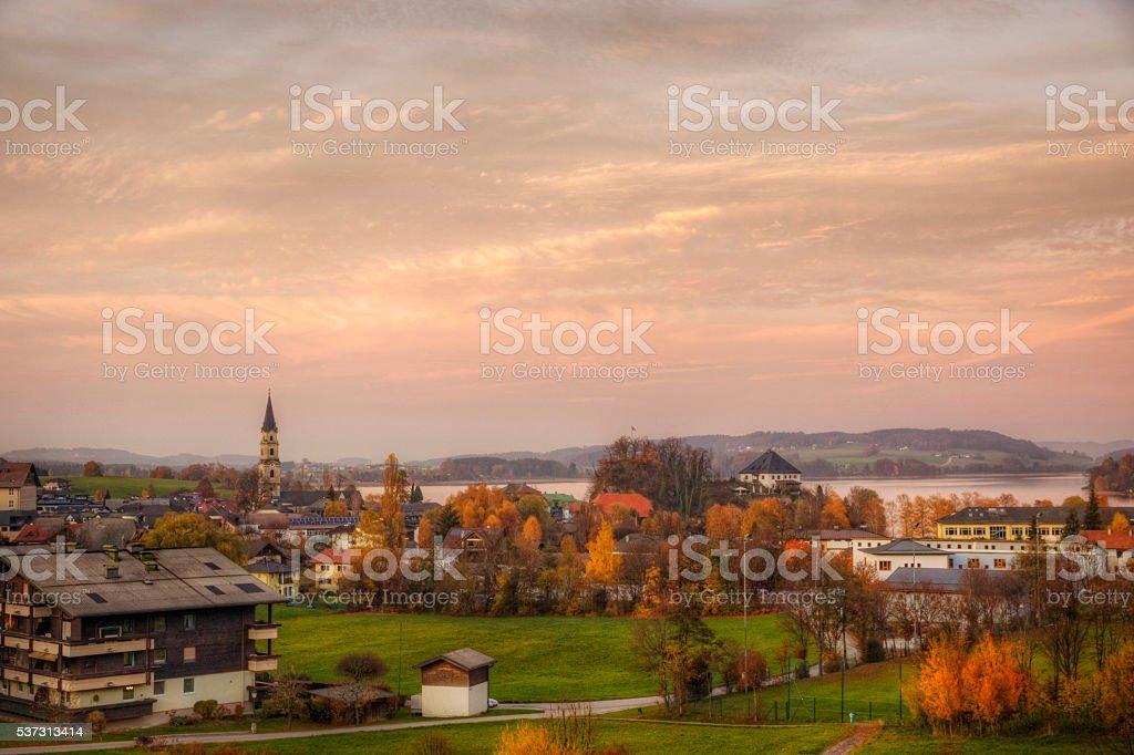 Lake and Village Mattsee Austria stock photo