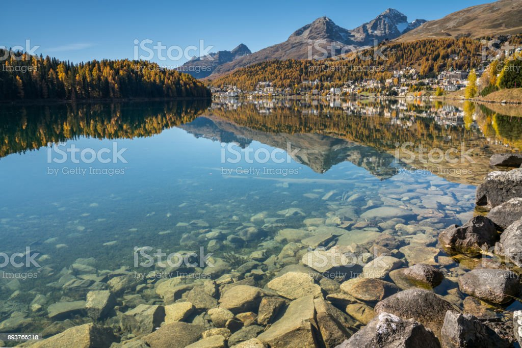 lake and village of St. Moritz in the Swiss Alps stock photo