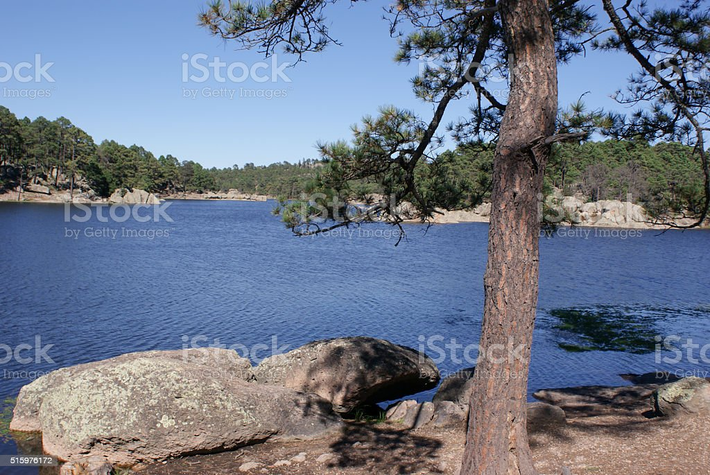 Lake Arareco in Copper Canyons, Chihuahua, Mexico stock photo