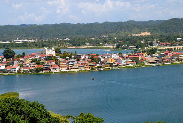 Lake around Flores Guatemala Central America stock photo