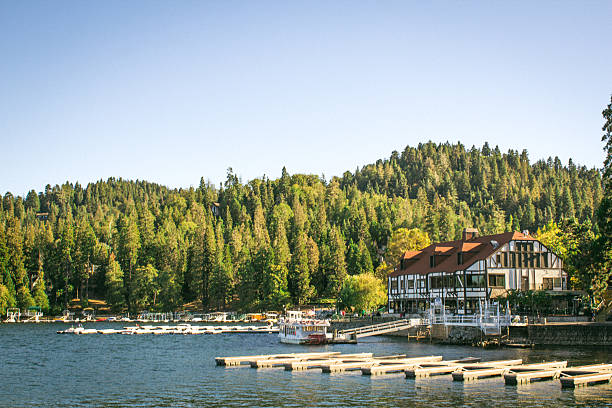 Lake Arrowhead The docks at Lake Arrowhead Village, surrounded by the forest. san bernardino california stock pictures, royalty-free photos & images