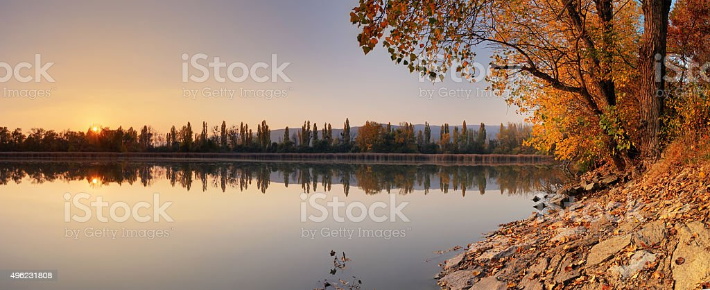 Lake at autumn with tree, Jursky Sur stock photo