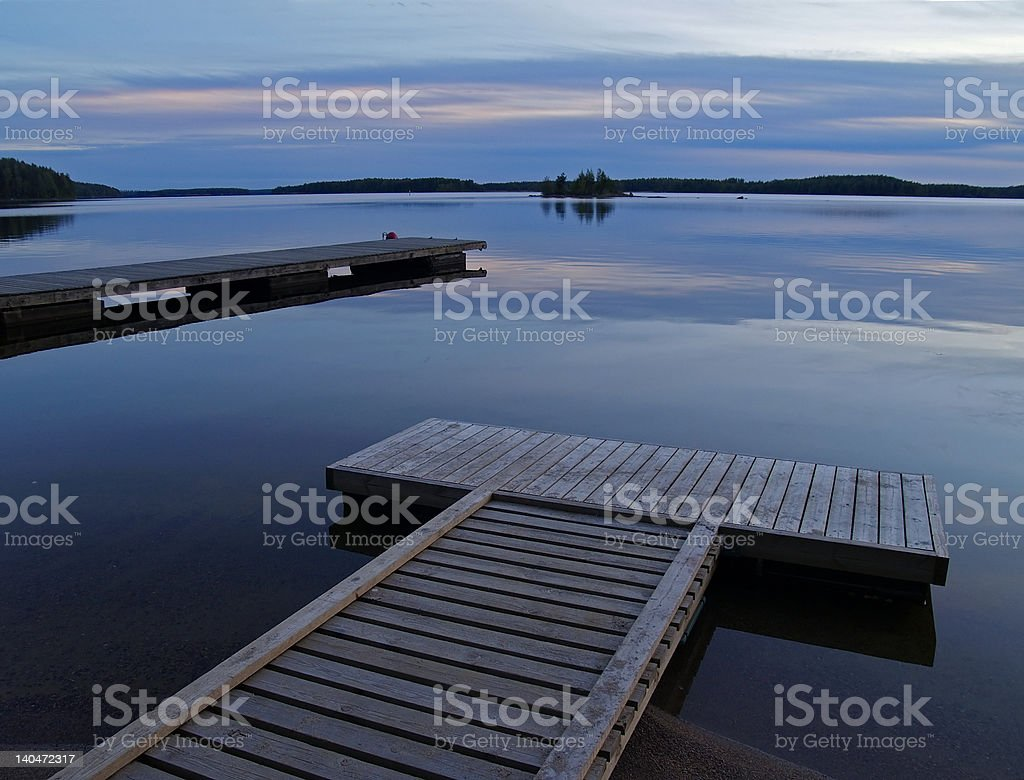 lake at dusk stock photo