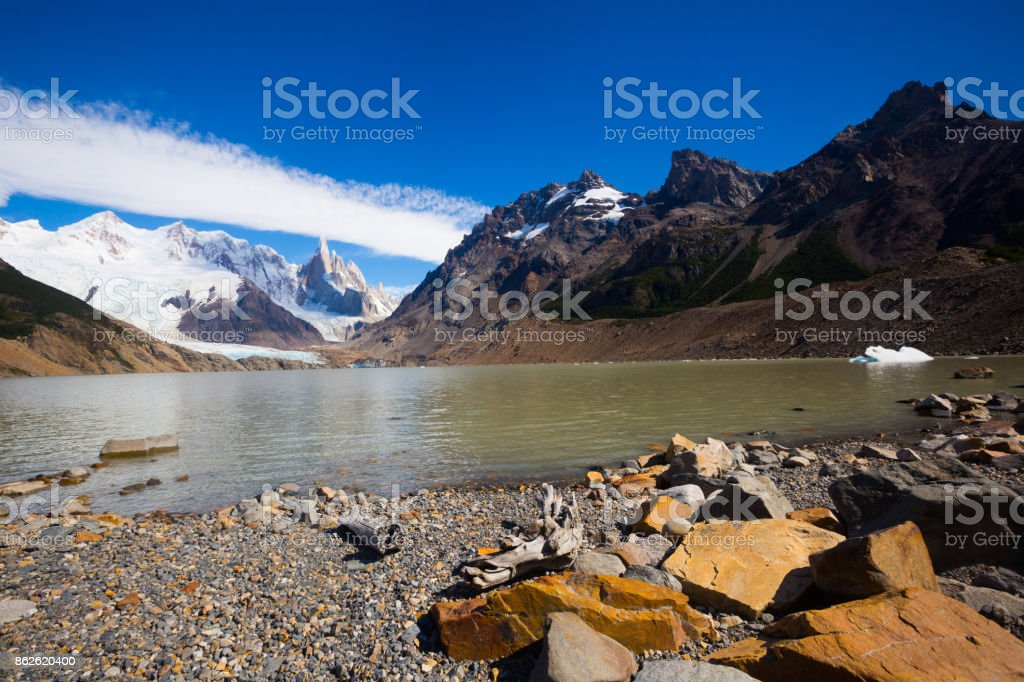 Lake at foot of Fitz Roy, Cerro Torre, Andes, Argentina stock photo