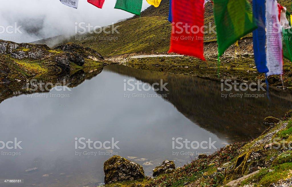 Lake at Sela Pass, Tawang, Arunachal Pradesh, India. stock photo