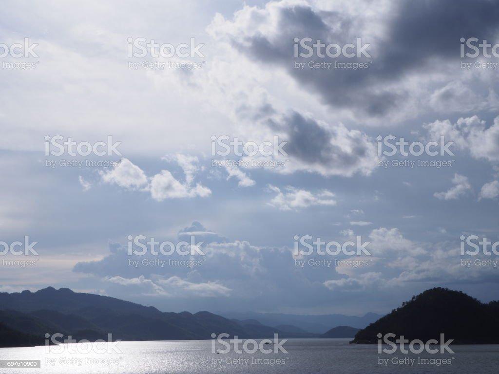 lake at Srinagarind dam stock photo