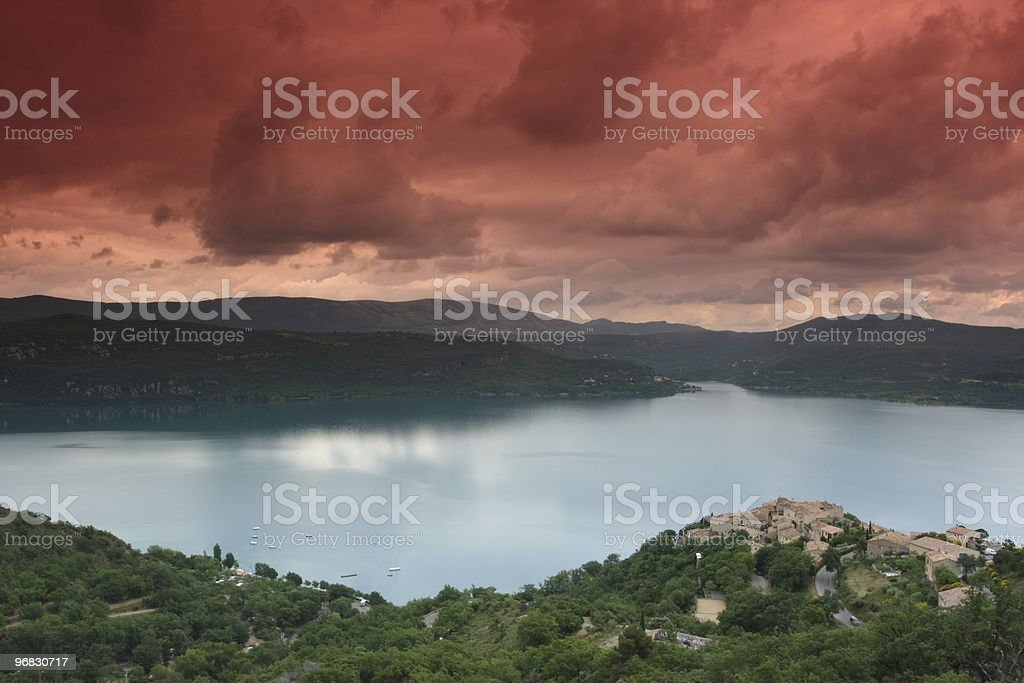 Lake at Sunset near St Croix de Verdon  Evening stock photo