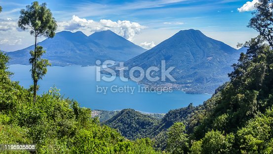 San Marcos La Laguna area, Guatemala 11/25/2016: View of surrounding volcanoes with tranquil Lake Atitlán in foreground.