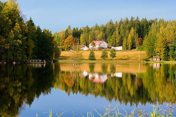 Lake. Autumn. Finland stock photo