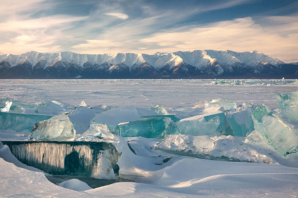 Lake Baikal in winter. stock photo