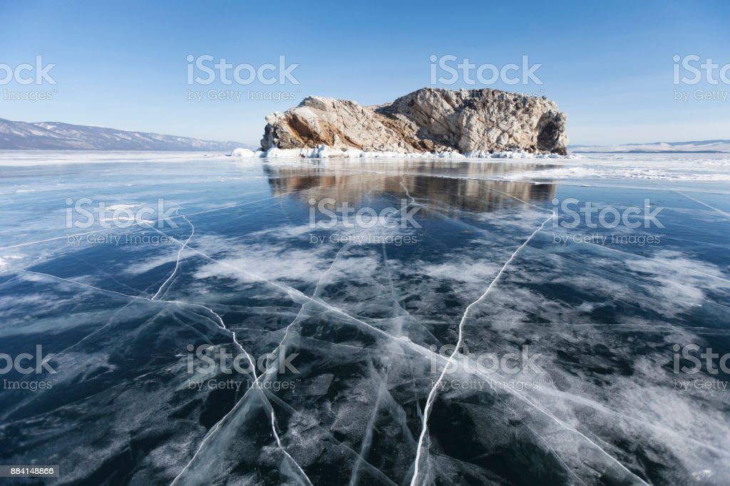 Lake Baikal Winter landscape, Borga-Dagan island. stock photo
