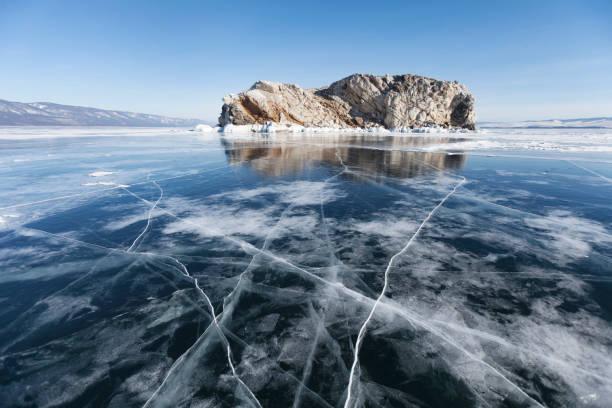 Lake Baikal Winter landscape, Borga-Dagan island. stock photo