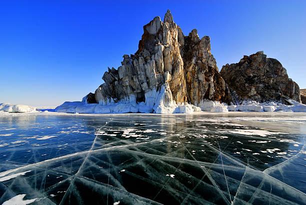 Lake Baikal winter view stock photo
