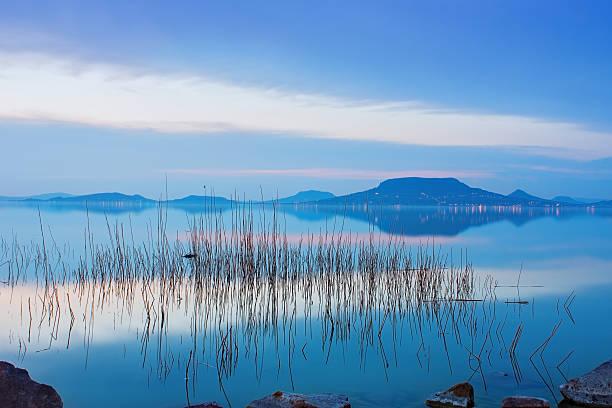 Lake Balaton and Badacsony mountain during the blue hour stock photo