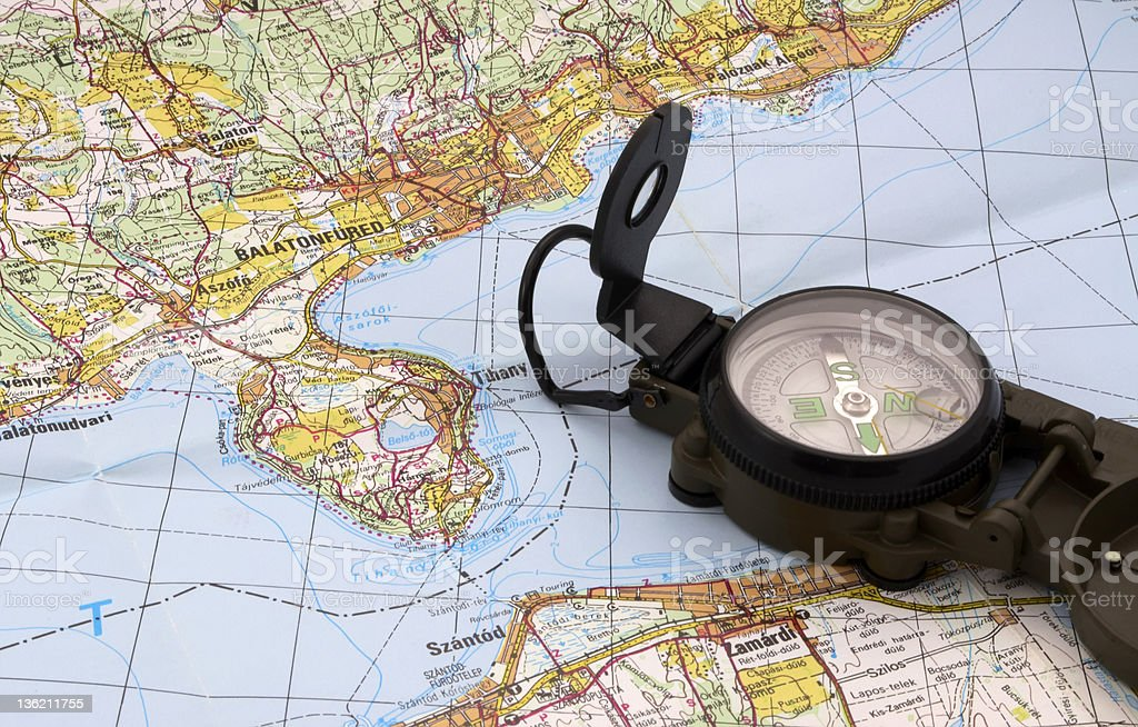 Lake Balaton map and compass royalty-free stock photo