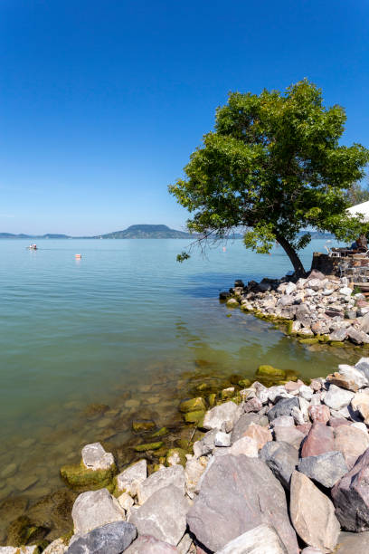 Lake Balaton view from Fonyod, Hungary. stock photo
