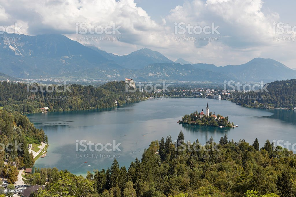 Lake Bled above view in Slovenia stock photo