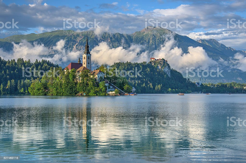 Lake Bled after raining Cloud scenery of Lake Bled after raining Beach Stock Photo
