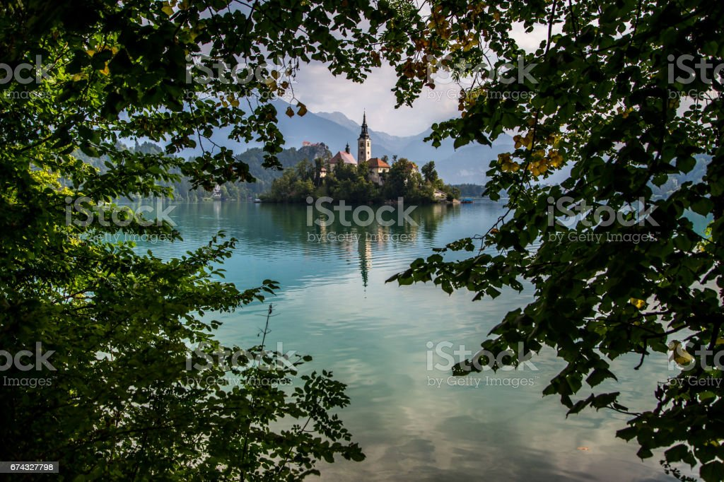 Lake Bled in Slovenia in the middle of Julian Alps stock photo