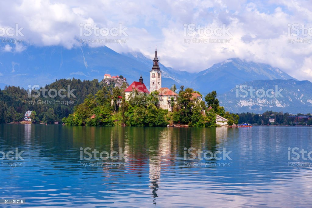 Lake Bled in summer stock photo