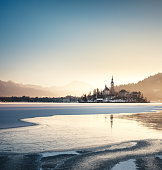 Frozen Lake Bled on a cold winter morning.