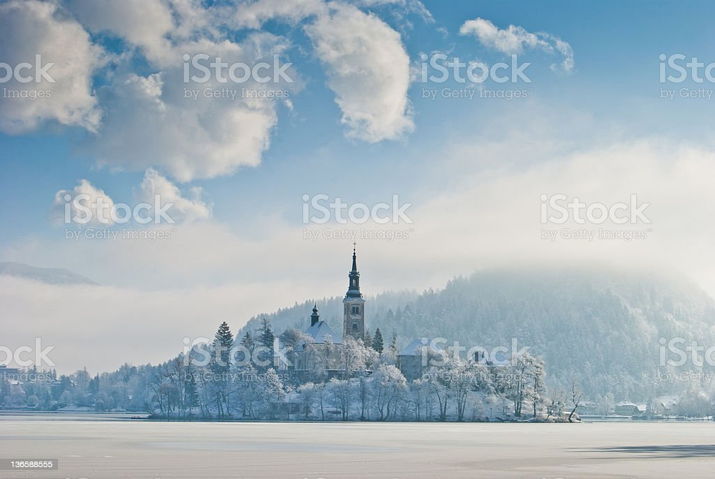 Lake Bled in winter, Slovenia stock photo