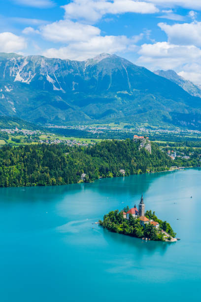 Lake Bled panorama of the Slovenia icon