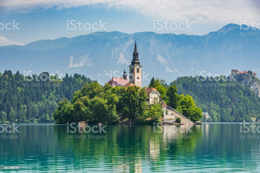 Lake Bled Santa Maria Church Slovenia stock photo