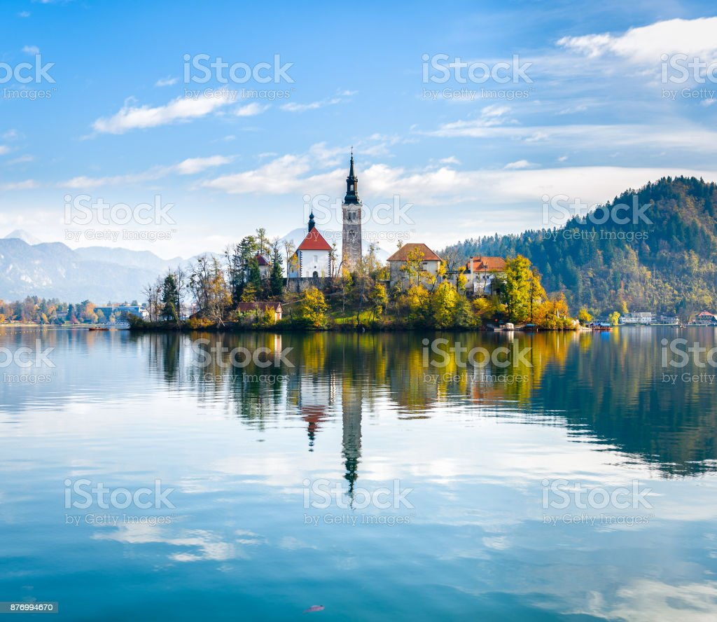 Lake Bled Slovenia. Beautiful mountain lake with small Pilgrimage Church. stock photo