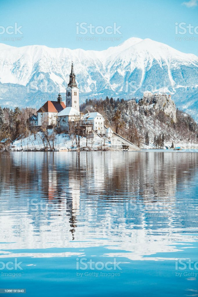 Lake Bled With Bled Island And Castle At Sunrise In Winter