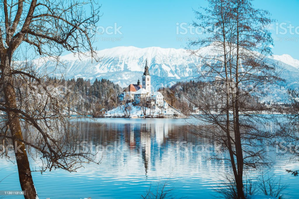 Lake Bled With Bled Island At Sunrise In Winter Slovenia
