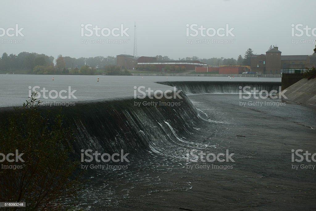 Lake Bloomington spillway stock photo
