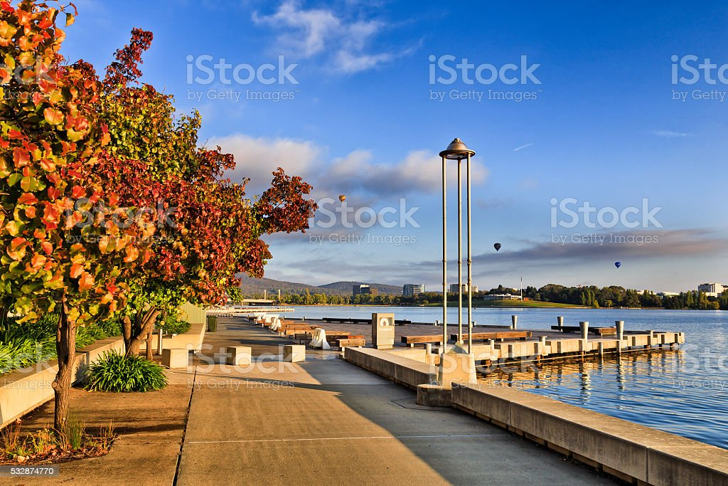 CAN Lake boardwalk red trees stock photo