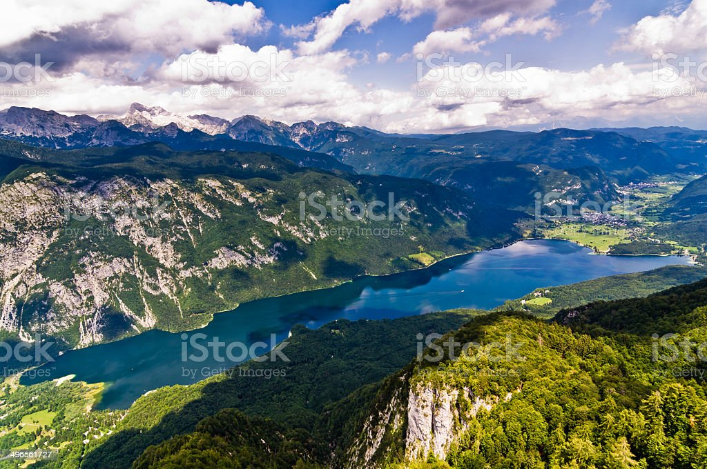 Lake Bohinj and its surrounding southern Alps mountains stock photo
