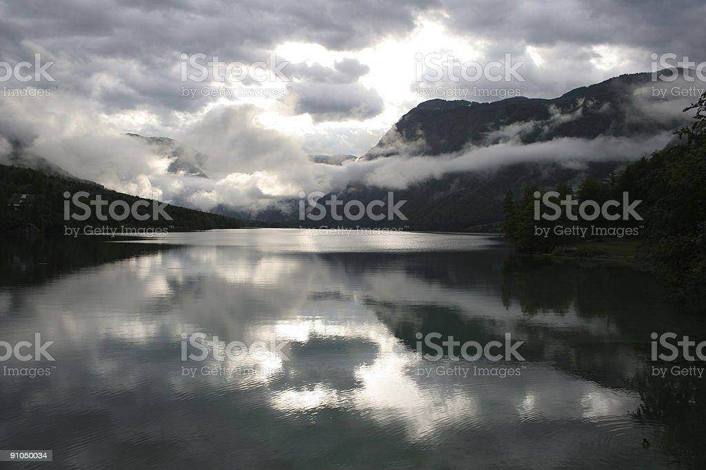 Lake Bohinj With Dramatic Sky royalty-free stock photo
