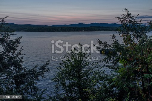 Lake Bomoseen landscape during blue hour sunset