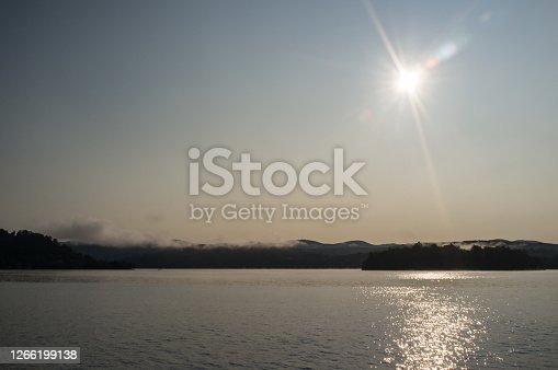 Beautiful lake Bomoseen landscape early misty morning