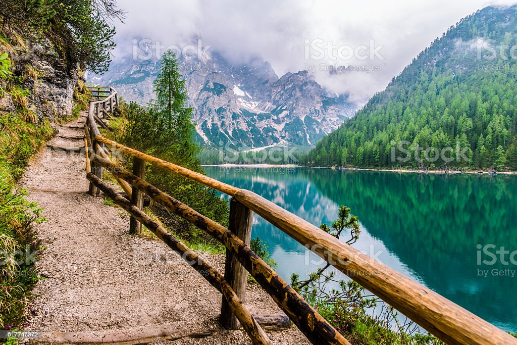 Lake Braies Dolimites Mountains path stock photo